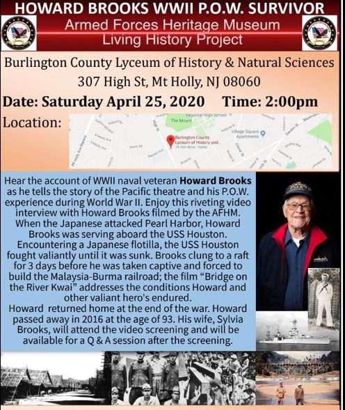 Howard Brooks WWII POW Survivor @ Burlington County Lyceum of History & Natural Sciences | Mount Holly | New Jersey | United States