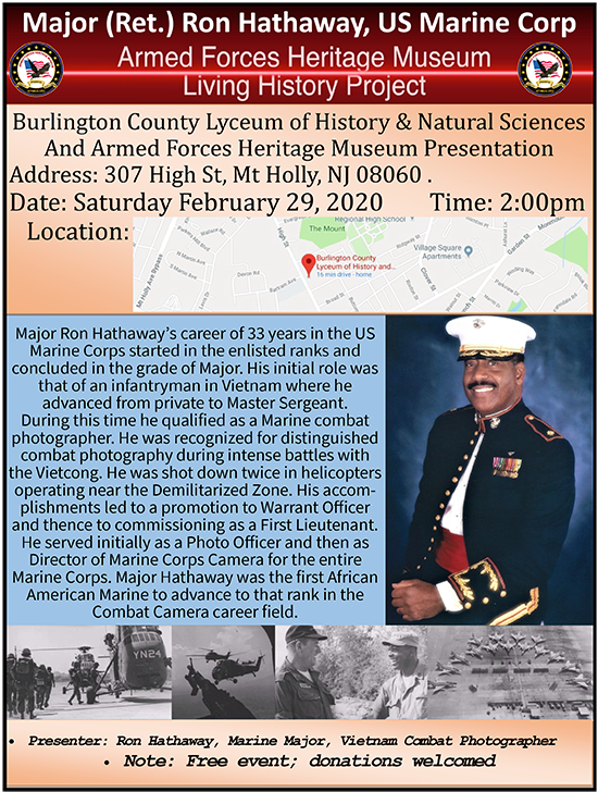 Major (ret.) Ron Hathaway, US Marine Corp @ Burlington County Luceum of History and Natural Sciences   Mount Holly   New Jersey   United States