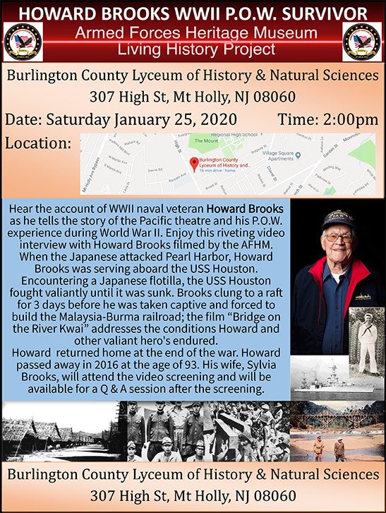 Howard Brooks WWII P.O.W Survivor @ Burlington County Lyceum of History & Natural Sciences | Mount Holly | New Jersey | United States