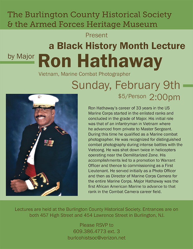 Presentation about Marine Corps Major Ron Hathaway, Combat Photographer During Vietnam Conflict @ Burlington County Historical Society   Burlington   New Jersey   United States